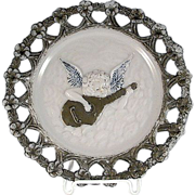 Decorative Early Reticulated Milk Glass Plate with a Cherub Playing a Mandolin