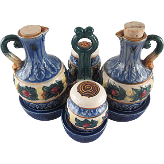 Japanese Majolica 5 Piece Condiment Set