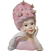 Relpo Lady Head Vase in Pink with a Beehive Hat and Hands Up A-1373M