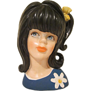 "Enesco Young Girl Lady Head Vase Long Black Hair 1960s 5"" tall"