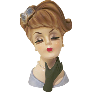 """Lefton Sophisticated Lady with Updo and Hand Up Head Vase 6-1/2"""""""
