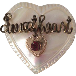 Mother of Pearl Heart Shaped Pin with 'Sweetheart'