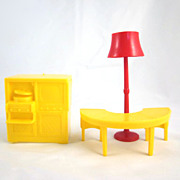 "Marx 3/4"" Soft Plastic 3 Pieces from the Living Room Dollhouse Furniture"