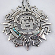 Vintage Taxco Mexican Silver & Abalone Alberto Diaz Ocampo  Idol, Sun, Star Pendant/Pin with Original Chain