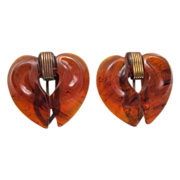 Pair of Root Beer Bakelite Heart-Shaped Dress Clips