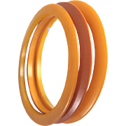 3 Butterscotch Bakelite Flat Spacer Bangle Bracelets