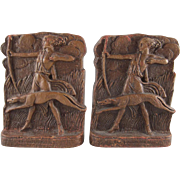 Greek Goddess Artemis Syrocco Wood Art Deco Bookends