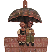 Hand Carved Wooden Couple Sitting Under an Umbrella Key, Jewelry Wall Holder