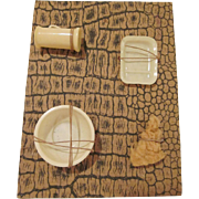Celluloid Bathroom Wash Set for a Dollhouse on the Original Card