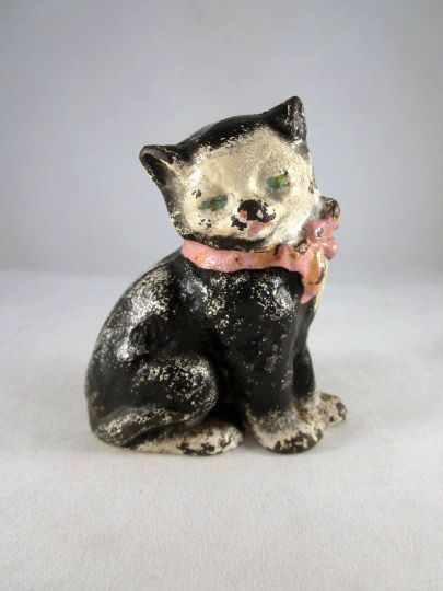 Hubley Cast Iron Black & White Cat Paperweight