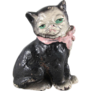 Hubley Cast Iron Black and White Cat Paperweight