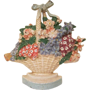 Vintage Hubley Cast Iron Wild Roses Woven Basket of Flowers #475 Doorstop