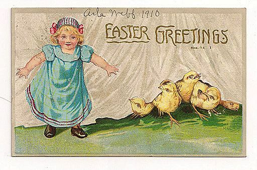 'Easter Greetings' Little Girl with Chicks Behind Curtains 1910