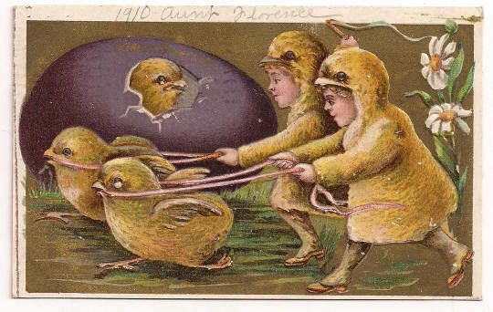 'Easter Greetings' Chick Hatches With 2 Running with Children Dressed as Chicks Postcard 1910