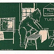 Tuesday Bears Ironing Postcard 1907-1908
