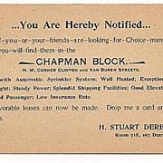'Chapman Block' 1898 Chicago Advertising Postcard