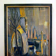 Mid Century Modern Abstract City Scene Oil Painting