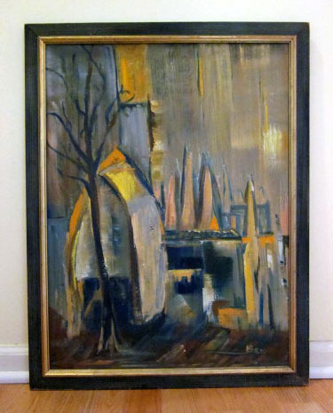 Mid Century Modern Abstract City Scene Oil Painting From