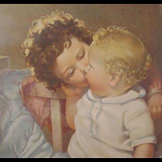Lithograph Print Devotion Two Little Children by Annie Benson Muller 19 x 16