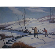 Oil on Canvas Hunt Scene c.1955 T. Kazakiewiez