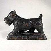 Figural Cast Iron Scottie Dog 'Hamilton Foundry' Paperweight