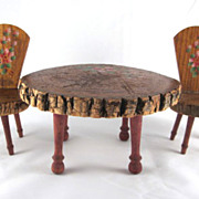 Folk Art Souvenir of Waverly, Iowa Miniature Table & 2 Chairs Made from a Tree