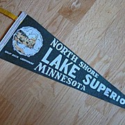 North Shore Lake Superior Minnesota Souvenir Pennant c1950