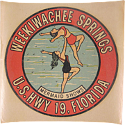 Weekiwachee Springs, U.S. Hwy 19, Florida Mermaid Shows Souvenir Decal 1950s Not Used