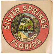 Silver Springs, Florida Horse Shoe Palm Souvenir Decal 1950s