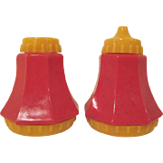 Vintage Pair of Hard Plastic Salt and Peppers Pour Top and Shaker