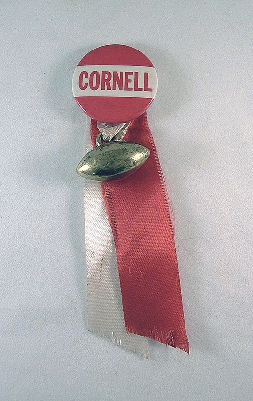 Sports Pinback Cornell with Metal Football Charm