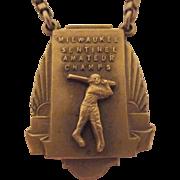 Art Deco Milwaukee Sentinel Amateur Baseball Champs Tie Bar