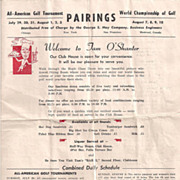 1952 World Championship of Golf Pairings Tam O'Shanter Golf Course Flyer