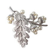 Crown Trifari Leaf with Faux Pearl Acorns Brooch