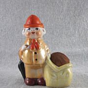 Japan Bisque Lustre Traveling Man Figural Pincushion