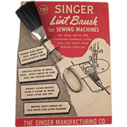 Singer Lint Brush on Original Card Not Used