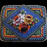 Italian Micro Mosaic Rectangular Brooch