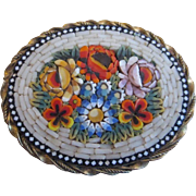 Italian Micro Mosaic White Border with Raised Flowers Brooch