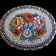 Italian Micro Mosaic White Border with Raised Flowers Brooch