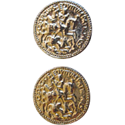 Carolee Goldtone Round Disc Clip Earrings with a Knight Design