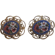 Italian Micro Mosaic Screwback Earrings with a Floral Design