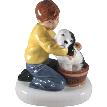 Royal Doulton Figurine 'Please Keep Still' a Boy Washes his Dog