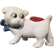 Not Glazed Bisque Googly-Eyed Dog Pincushion Made In Japan