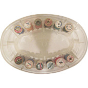 Vintage Thread Master Hard Plastic Thread Storage Caddy with 19 Wooden Spools of Thread and 2 Plastic Thimbles