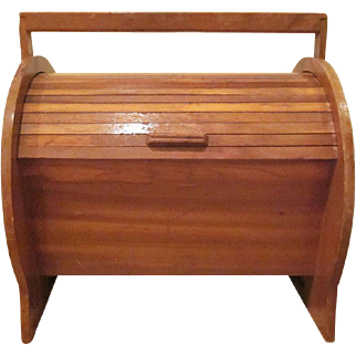 Vintage Wooden  Roll Top Sewing Box with Contents