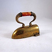 Early Made in Germany Figural Sad Iron Plated Brass Tape Measure - Red Tag Sale Item