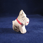 Chalk Filled Celluloid Sitting Scottie Dog Figure