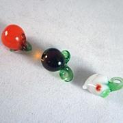 Miniature 3 pieces of Glass Fruit Dollhouse Accessories