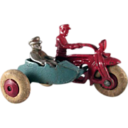 Hubley Cast Iron Cop Motorcycle with Sidecar Toy
