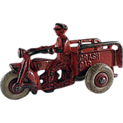 Vintage Hubley Cast Iron 'Crash Car' Motorcycle